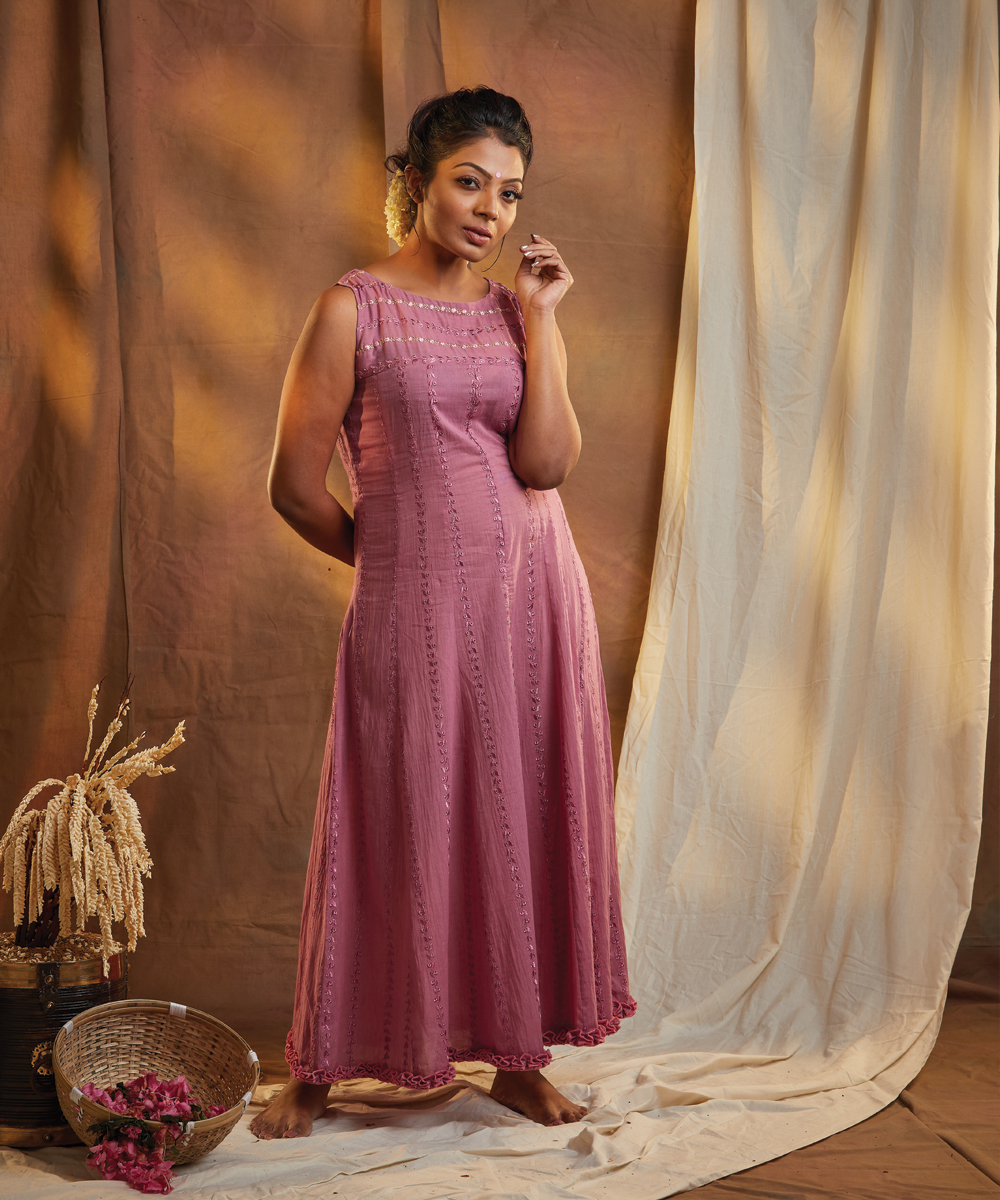 MAUVE COLORED MACHINE EMBROIDERED DRESS