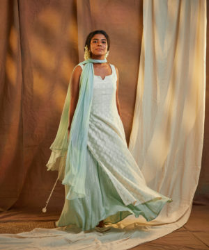 Mint green chanderi skirt dress